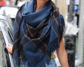 Aegean Blue Oversized Blanket Scarf Shawl Wrap Square Checked Scarf Gift for Women Plaid Scarf Tartan Scarf Women Accessories Gift for Her