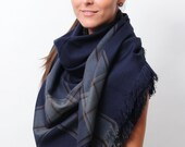 Navy Oversized Scarf Blanket Scarf Shawl Wrap Square Checked Scarf Gift for Women Plaid Scarf Tartan Scarf Gift for Mother Women Accessories