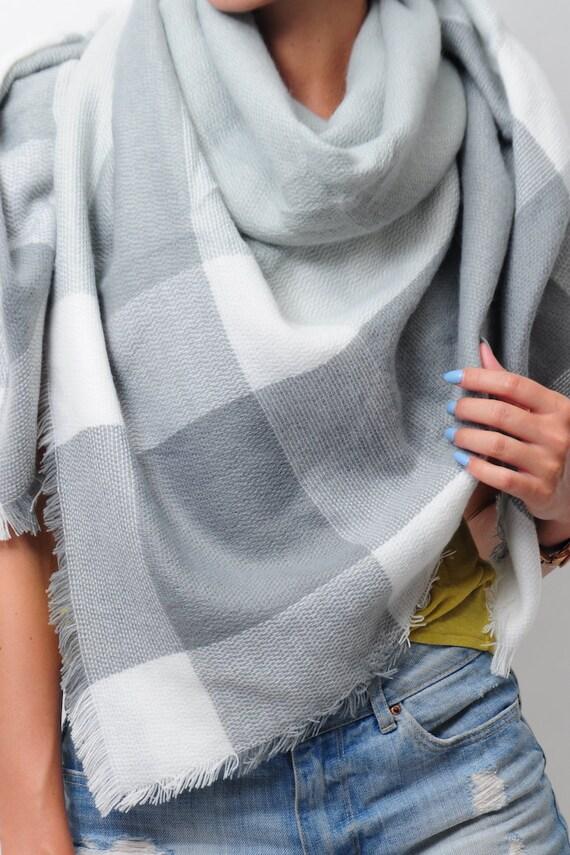 Couverture gris écharpe pour Zara Tartan femme couleur bloc   Etsy 8a85f072988