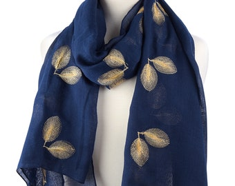 Embroidered Leaf Summer Scarf Boho Style Cotton Rich Scarves Boho Scarf Gift For Her Fashion Accessories Gift for Women Stylish Scarf