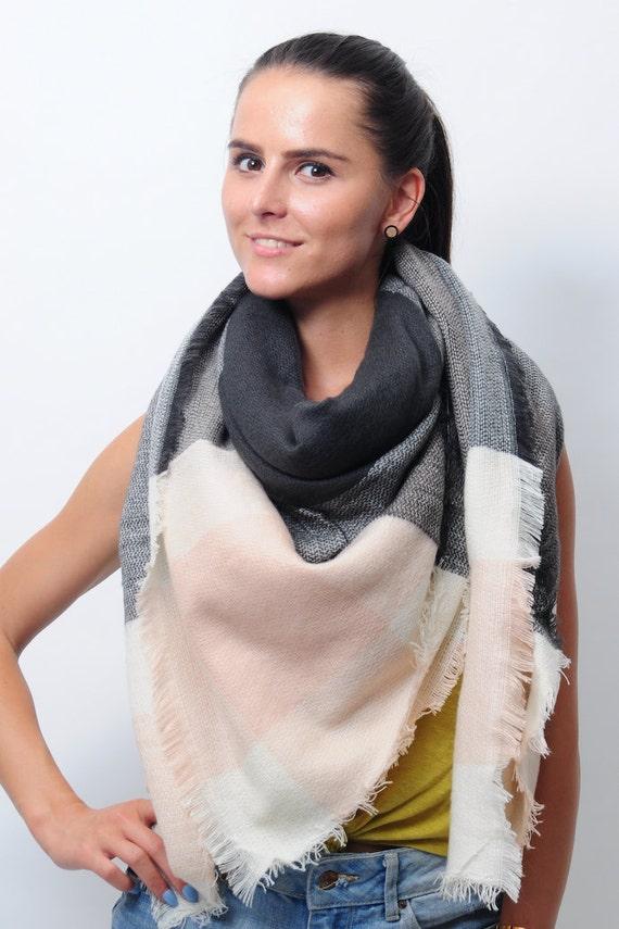 Gris clair rose noir couverture écharpe pour Zara Tartan femme couleur bloc  femmes inspiré surdimensionné hiver grand foulards Noël cadeaux de Noël fa543a9ab40