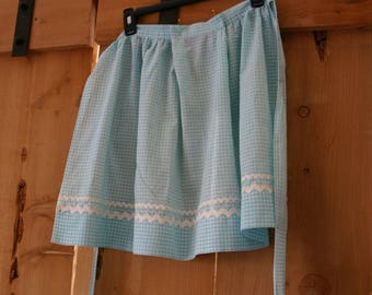 Beautiful Turquoise Rick Rack Trimmed Gingham Apron