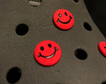 780c141acfb9f Corcs for Crocs  Smiley Red