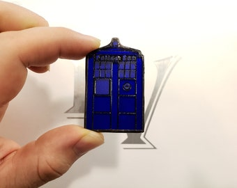 Stained Glass Tardis Pin