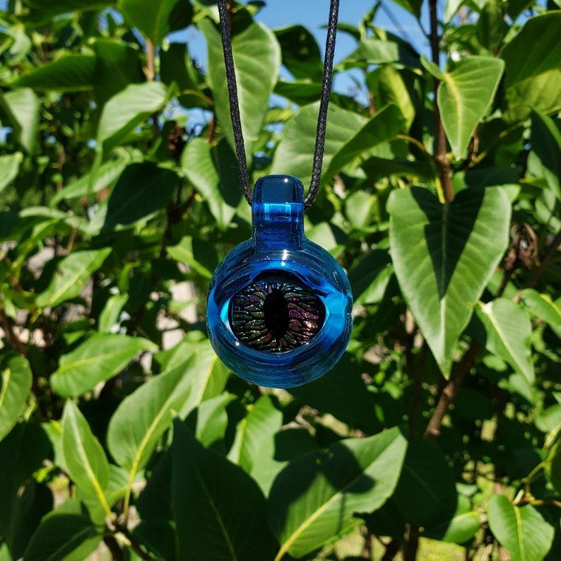 Topaz Fused Glass Eye Pendant