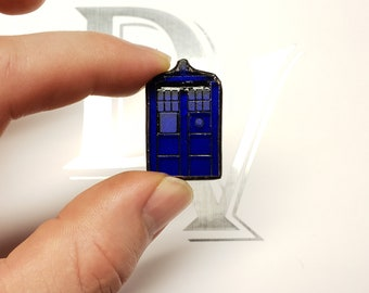 Stained Glass Mini Tardis Pin