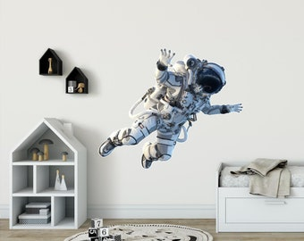 Astronaut Wall Sticker Cosmonaut Wall Decal Spaceman Personalized Name wall decor outer space for Boys Bedroom Playroom Decor Wall art ik3887