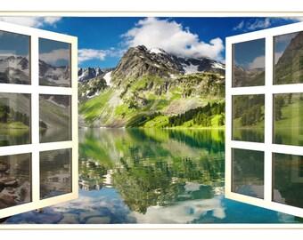 Window Scape Mountain Lake 3 Window 3d Wall Decal Sticker Etsy