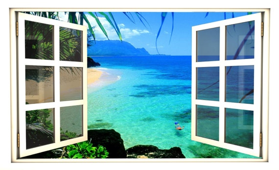 Tropical Beach Day 3D Window Wall Decal Sticker Mural Vinyl Ocean Window Scape