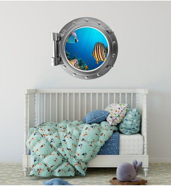FISH /& CORAL PORTHOLE Decal Removable WALL STICKER Art Sea Window Portscape