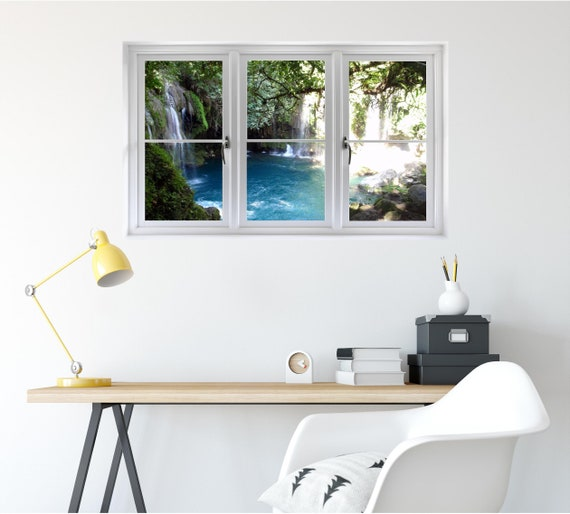 Miraculous Waterfall 3D Window Hidden Cove Wall Decal Sticker Mural Open Closed Fake Frame Instant View Bedroom Office Room Decor Window Scape Beatyapartments Chair Design Images Beatyapartmentscom