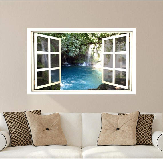 Awesome Waterfall 3D Window Hidden Cove Wall Decal Sticker Mural Open Closed Fake Frame Instant View Bedroom Office Room Decor Window Scape Beatyapartments Chair Design Images Beatyapartmentscom