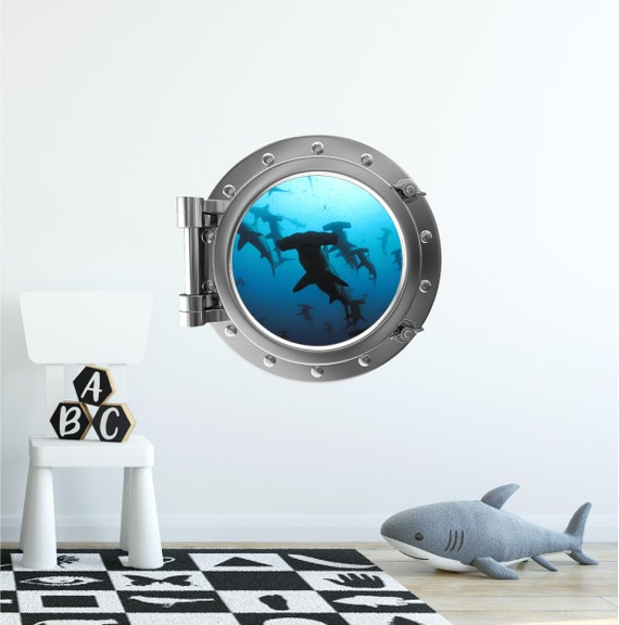 Port Scape Coral Reef #1 Porthole 3D Window Wall Decal Ocean Underwater Sea Life