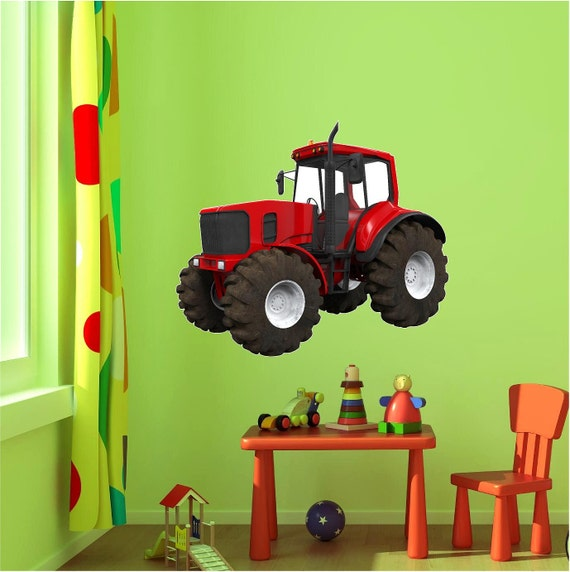 Tractor Wall Decal Red Tractor Wall Decal John Deere | Etsy