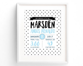 Birth Announcement Wall Art   Birth Details Print   Personalized Birth Announcement   New Baby Gift   Baptism Gift   Nursery Decor