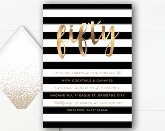 50th Birthday Invitation | Black and Gold Invitation | Digital Invitations | Fifty and Fabulous