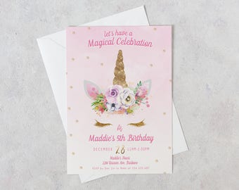 Unicorn Invitation Party Birthday Pink Glitter 1st 2nd 3rd 4th
