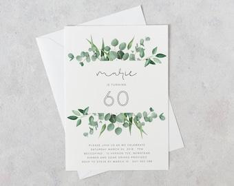60th Birthday Invitation, Greenery 60th Invitation, 60th Birthday Invitations, Simple 60th Invites, 60th Invitations for Women