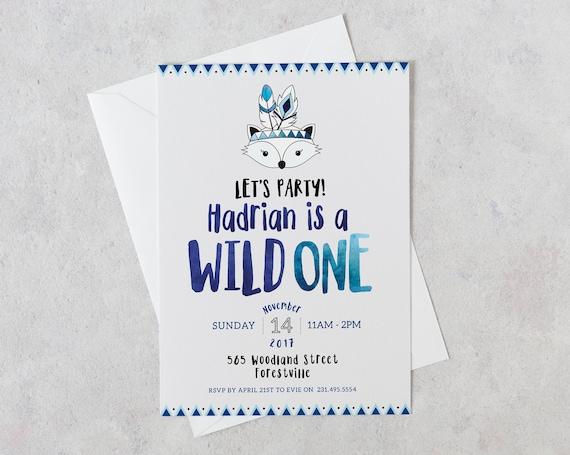 Wild One Birthday Invitation Boy 1st
