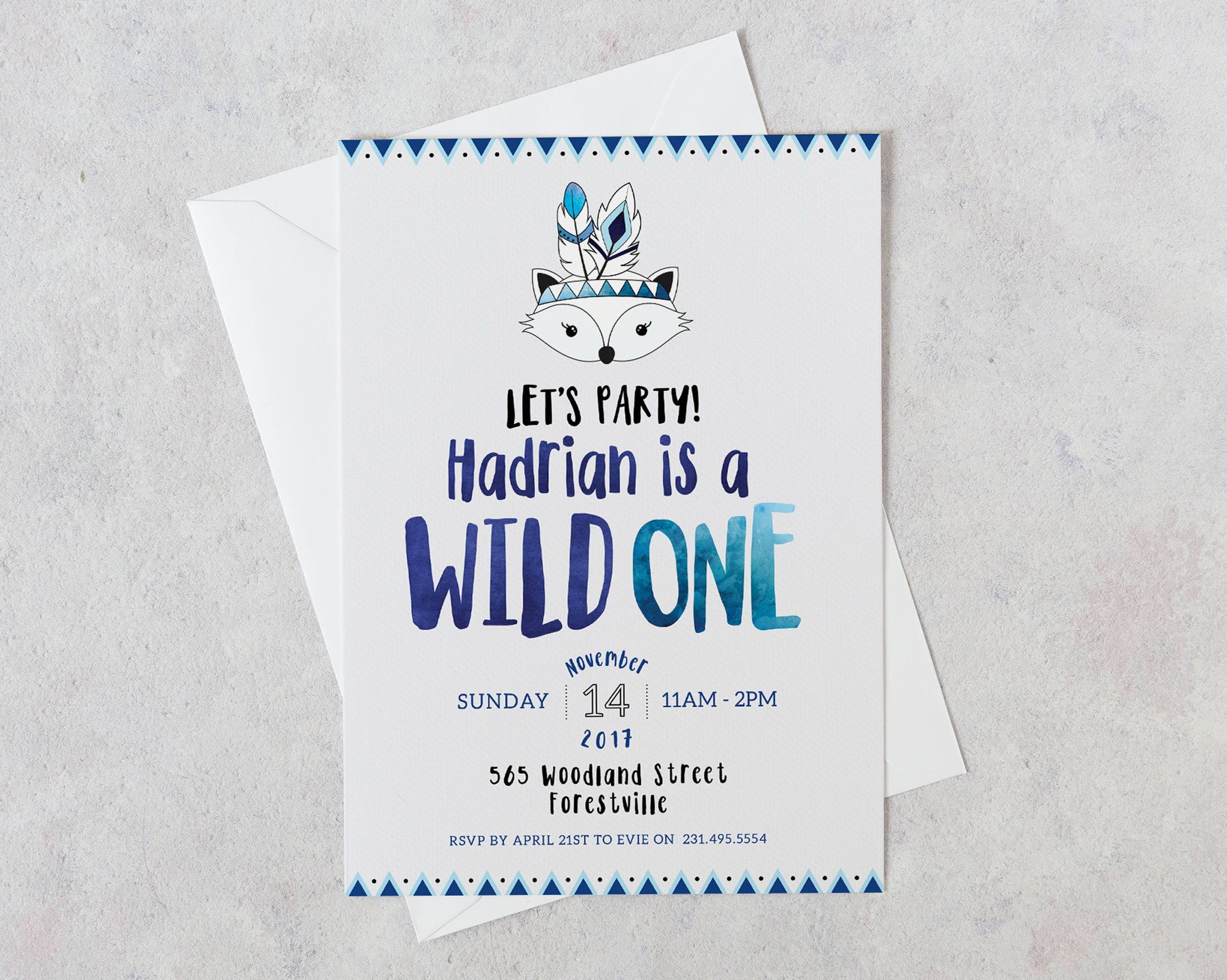 Wild One Birthday Invitation Boy 1st