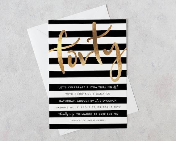 40 Zaproszenie Urodzinowe 40 Zaproszenia Urodzinowe Czarno Złota 40 Zaproszenia Zaproszenia 40 40 I Fantastyczny