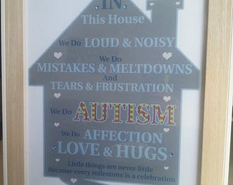 Autism Poem Word Art Home Picture Print
