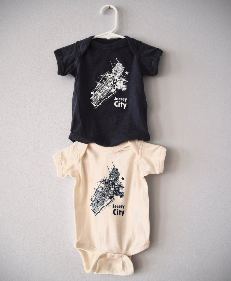 Jersey City map graphic onesie  for babies image 0
