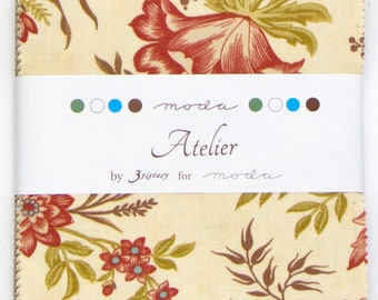 """Atelier Charm Pack by 3Sisters for Moda 42- 5"""" squares"""