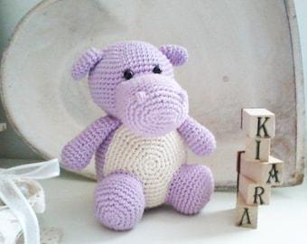 LAU, hippo amigurumi. handmade crochet. gift idea for children or to collect. Hippo animals for children. crochet snowman