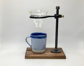 Adjustable Pour-Over Coffee Station - Walnut/Hario v60 Edition: coffee stand, coffee dripper, coffee maker, hario, v60