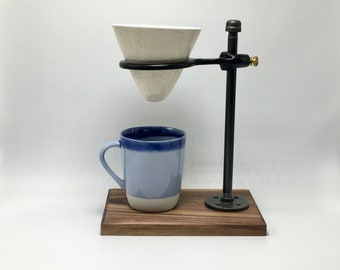 Adjustable Pour Over Coffee Maker - Walnut/Ceramic Dripper: gift for him, gift for her, wood, home decor, industrial, housewarming