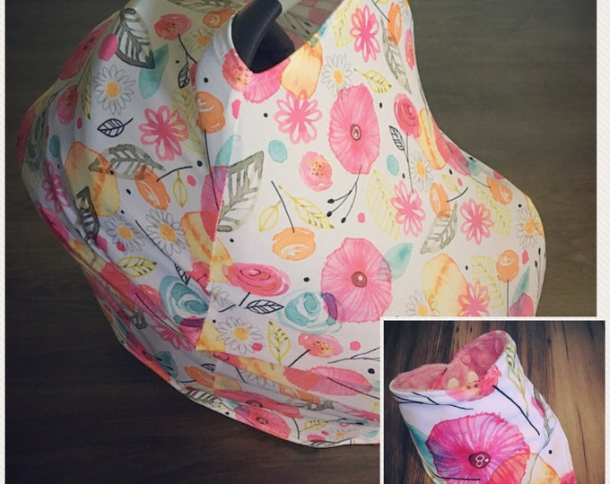 Stretchy Car seat cover w/ FREE bib.