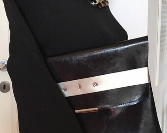 Fashion color Pochette-bicolored mordida faux leather pochette-hand bag-Soft Veg-leather purse-Light handbag Cool-color-PartyBag