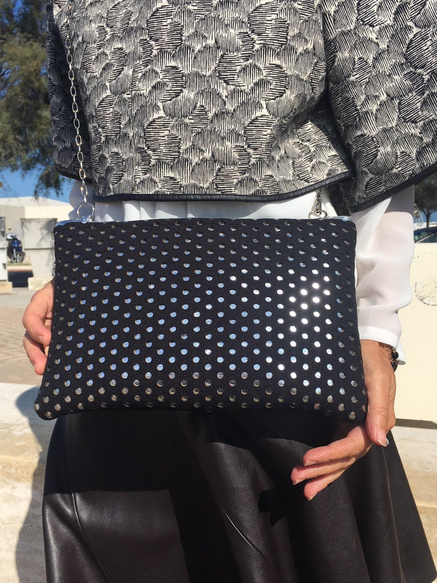c86559d3cc Black Neoprene bag-perforated neoprene bag silver-gold-hand bag ...