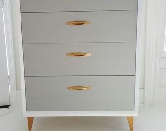 Sold#Lovely mid Century dresser, vintage dresser painted gray,white and gold, tallboy, painted furniture nj
