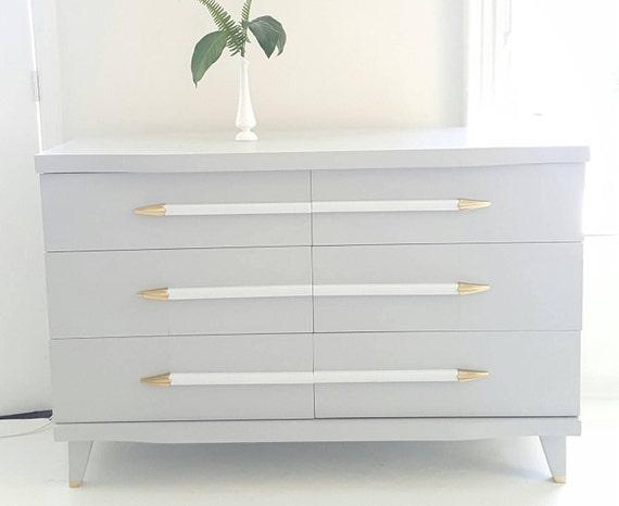 Soldmid Century Modern Dresser Vintage Dresser Gray White Etsy
