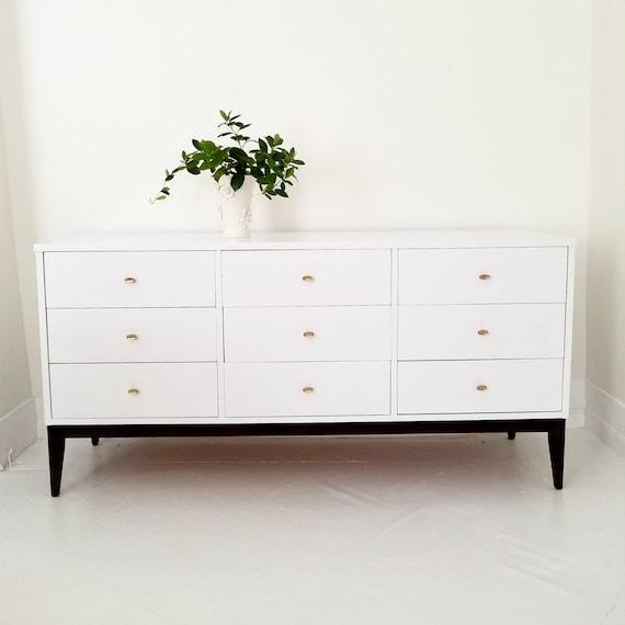 Soldlovely Mid Century Modern Dresser Credenza Nine Drawer Etsy