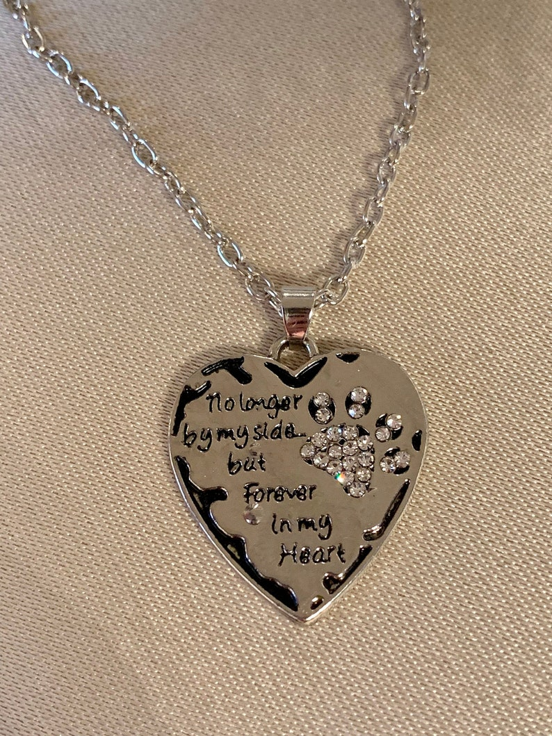 Silver Tone Pet Memorial Heart Clear Crystal Necklace No Longer by my side but Forever in my Heart Dog Cat