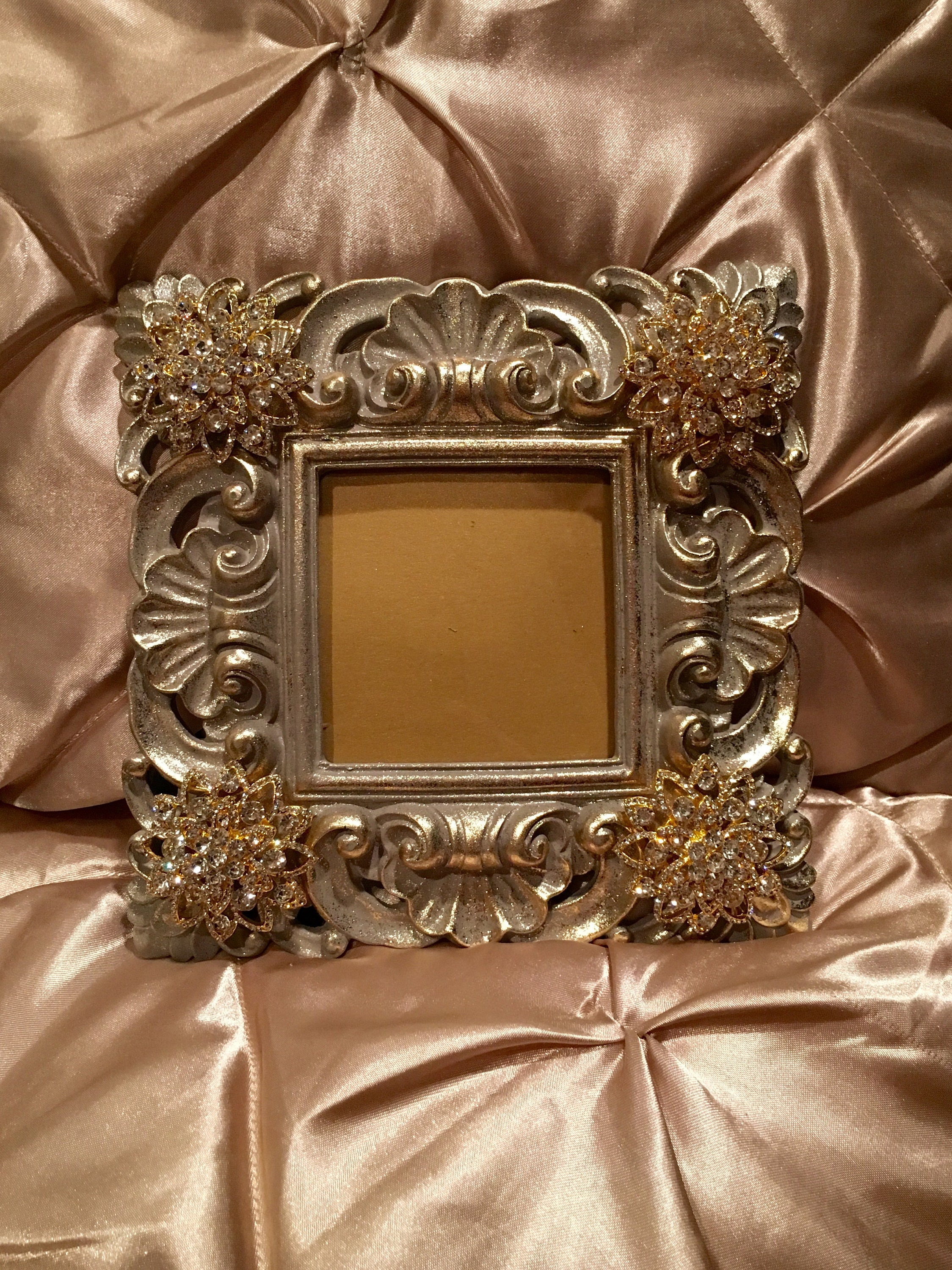 bacb3eb4996 Gray and gold fancy picture frame with beautiful genuine crystal accents  jpg 2249x3000 Beautiful gold frames