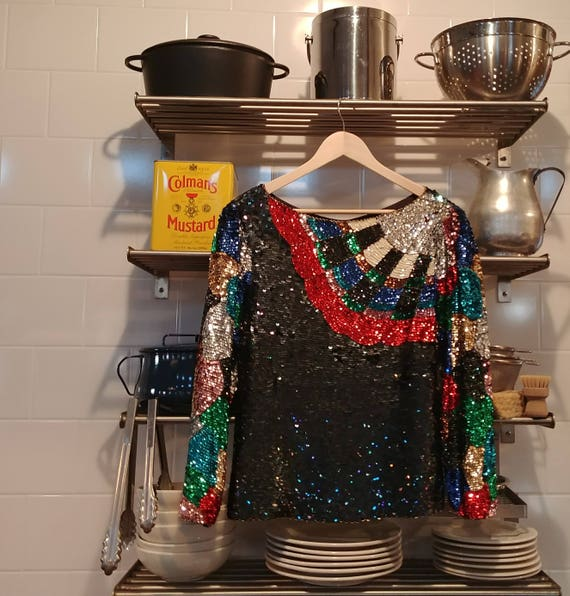 Sequined Fan Top