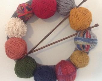 Knitting Wreath, Yarn Wreath, Yarn Ball decoration, Knitters Wreath, Knitting Needles, Love to Knit, Gift for Knitter, front door wreath