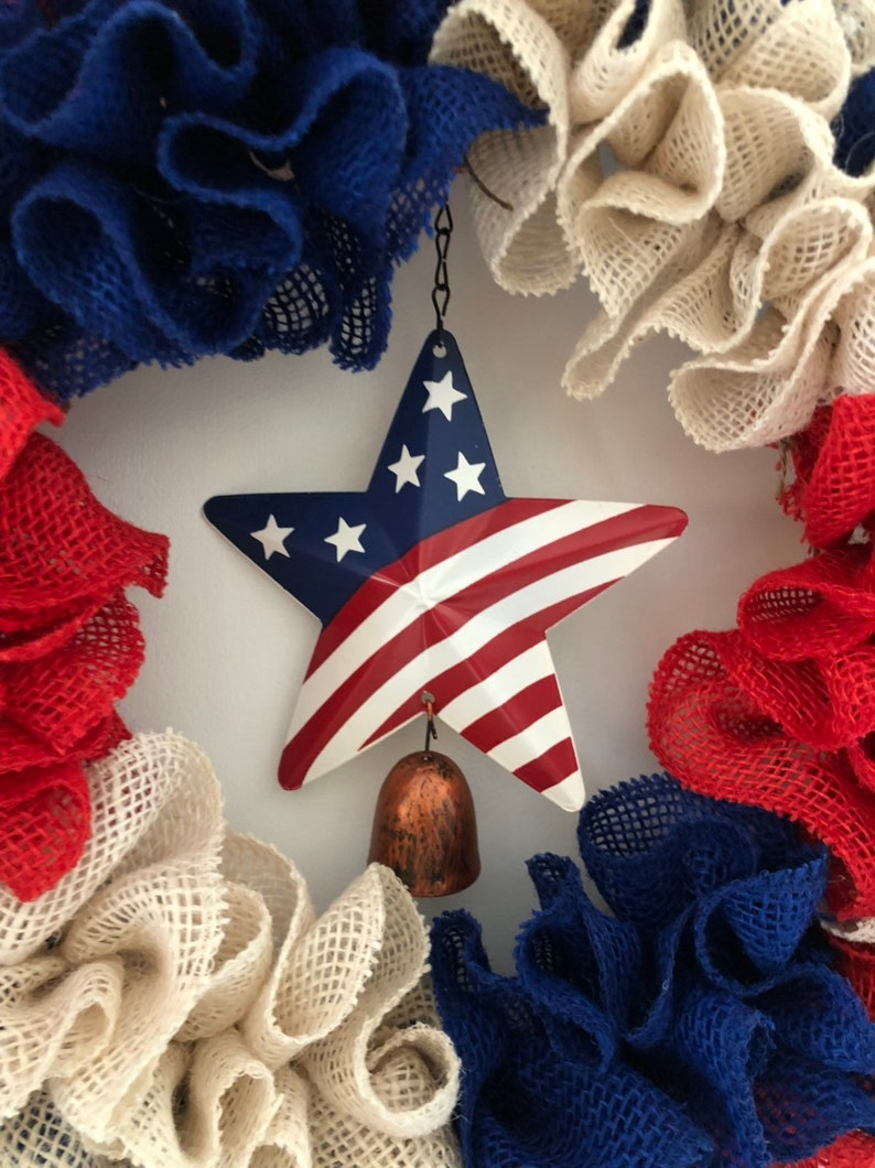 burlap wreath gift idea. Stars and Stripes wreath America 4th of July Wreaths flag wreath red white and blue Patriotic Wreaths