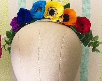 Rainbow Pride Floral Tiara Crown