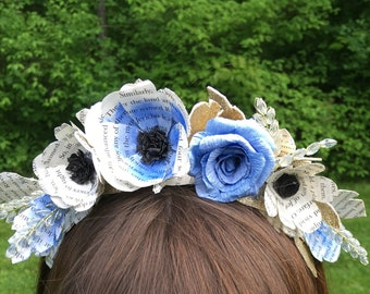 Bookish and Beautiful in Blue Floral Tiara Crown