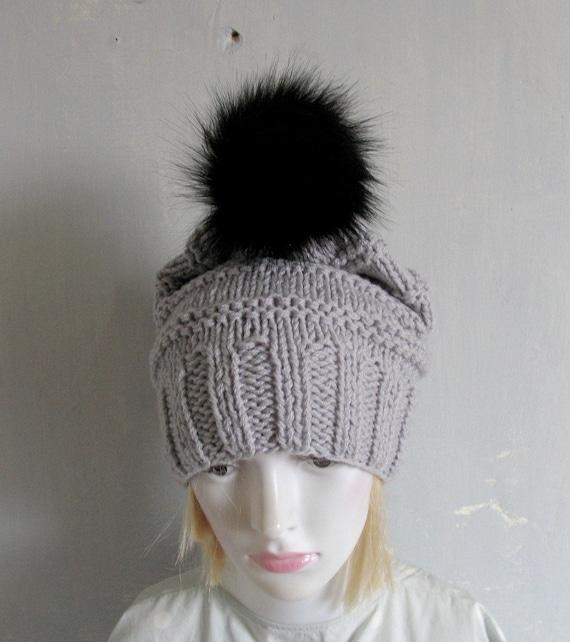 b4acaee8a5c Women Hat Pompoms BLACK tips Pom pom Knit Beanie for Women