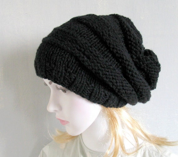 Black Chunky Knit Hat Women Black Hat Hand Knitted Womens Hat  87fb2512c8