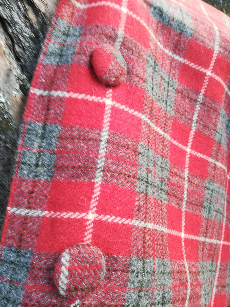 Harris Tweed ladies poncho cape Red Grey and white check