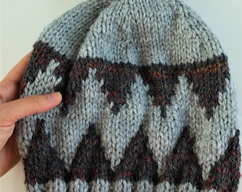 Cap sheltered from point of wool with pompon-Super warm chunky knitted beanie-Warm knitted hat-Handmade wool hat-Cozy knitted beanie-