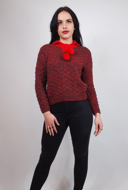 vintage red jumper pom pom vintage retro hand knitted sweater