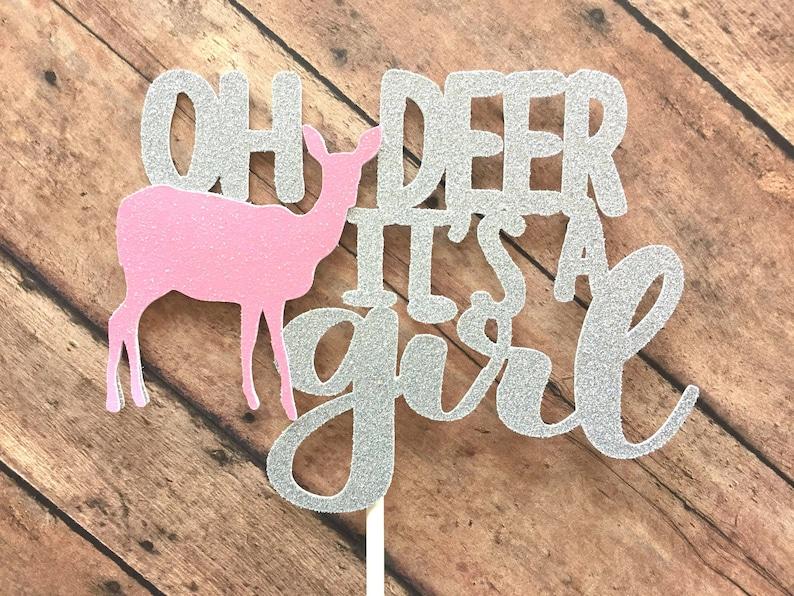 2c2e715c58960 Oh Deer Cake Topper / Oh Deer It's a Girl Baby Shower / Woodland Baby  Shower / Woodland Cake Topper / Winter Baby Shower / Fall Baby Shower